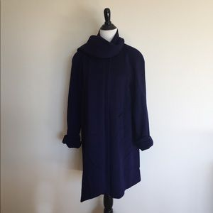 Vintage Purple Swing Wool Coat With Scarf L XL